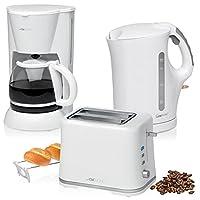 Set da colazione, macchina da caffè americano 14tazze, tostapane 2 fette, bollitore d'acqua elettrico da 1,7litri, bianco, stile Colour Up