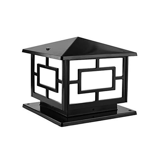QJUZO Lámpara de Sobremuro Exteriores Aluminio Luces de Pedestal Moderno Lámpara de Exterio Lámpara de Jardín IP65 Impermeable Lámpara de Pie Acrílico Iluminación Exterior, E27, Negro,White light