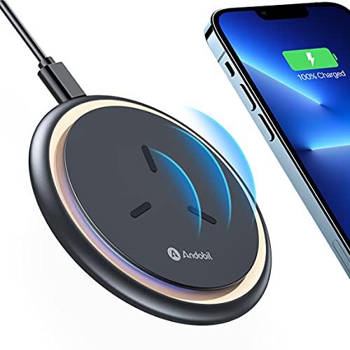 andobil Wireless Charger Ladepad 15W [Absolut Sicher & Schnell Ladungen] Qi Fast kabellose Ladegerät induktive Ladestation Kompatibel mit iPhone 13,13pro,12,12 pro,11,11 Pro,Samsung S2,Note20 usw