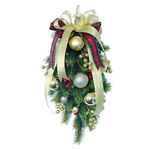 TTBD Christmas Swag Teardrop Door Artificial Pine Needles with Red Berry for Holiday Christmas Wall Hanging Decor