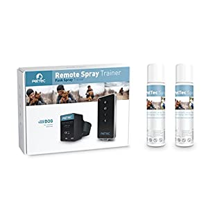 PetTec Dresseur Spray à distance Anti aboiement avec Signal Sonore et Spray, incl. 2x Recharges + Batteries