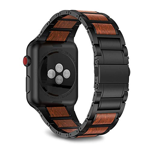 ANBEST Compatibile con Apple Watch Band 42 mm 44 mm Acciaio Inox Legno Naturale Rosso Legno di Sandalo Cinturino di Ricambio per iWatch Serie 5 4 3 2 1 per Uomo/Donna