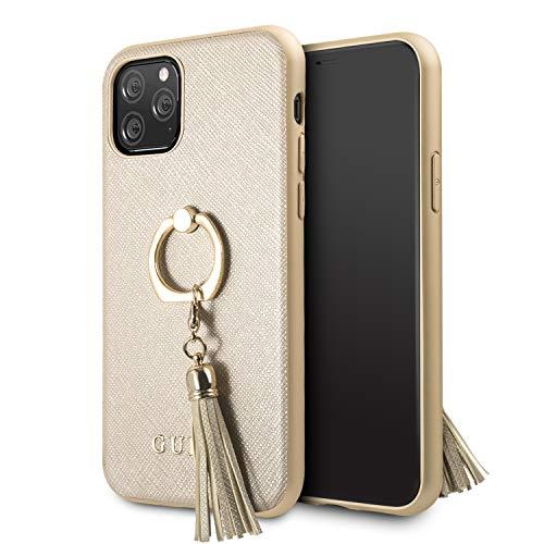 Guess GUHCN58RSSABE Saffiano hoes met een praktische ringvormige greep voor iPhone 11 Pro beige