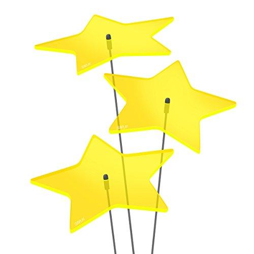 """SUNPLAY Sonnenfänger """"Sterne Stella"""" in GELB, 3 Stück je 10 cm Durchmesser im Set + 35 cm Schwingstäbe"""