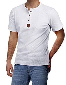 H2H Mens Casual Half Sleeve Henley Pullover T-Shirts White US L/Asia XL  JDSK31