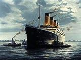 Pintura Al Óleo Pintada A Mano sobre Lienzo,Paisaje Marino Titanic On Ocean Canvas, Arte De Pared De Lienzo Grande para El Hogar Corredor De La Sala De Estar Dormitorio De La Oficina De La Pared De