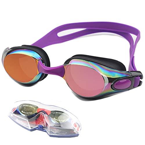 LIMESI Gafas de Natación Unisex Impermeable y Antivaho Amplio Campo de Visión Gafas de Protección Ajustable Protección UV Polarizado Gafas Nadar para Adultos y Jóvenes-Purple