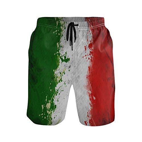 Bonipe Herren Badehose Retro Italien Flagge schnell trocknend Boardshorts mit Kordelzug und Taschen Gr. L/XL, mehrfarbig
