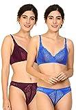 Fashion Comfortz Women Net Bra Panty Set for Lingerie Set (Pack of 2) (Color : Maroon,Blue) (Pattern : Floral Print) (Size : 36) (SKU : Set Hira_Maroon,Blue)