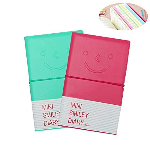 2 Pcs Mini Smiley Notebook, Mini Smiley Diary 2 Colors Pocket Notebook...