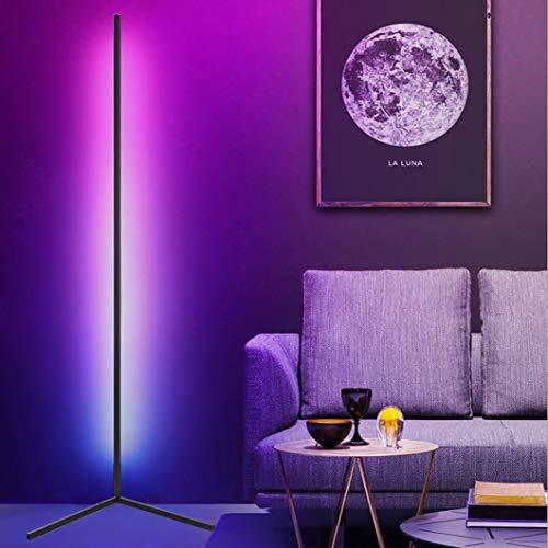JAKROO RGB Stehlampe, Dimmbar RGB Lampe Ecke Dekoration Mit Fernbedienung Für Wohnzimmer Schlafzimmer Farbwechsel Lichtsaeule, Weiß schwarz