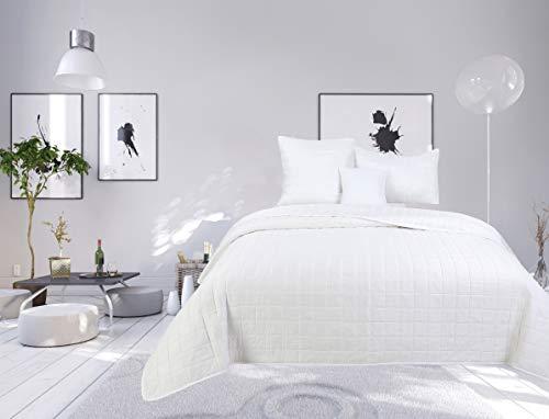 Colcha bouti de 4 piezas de color liso con diseño de cuadros para cama de 1 plaza (blanco, cubre cama bouti 4 piezas liso)