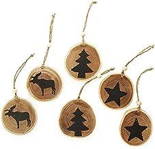The Christmas Cart Farmhouse Tree Decorations | Set of 6 | Wooden Christmas Tree Decoration |Famhouse Style |Black Printed...