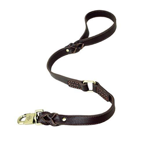 Yuhtech Correas de Perro de Cuero Genuino Trenzado Fuerte Suave para Perros Grandes o medianos Perros de Entrenamiento Correa para Caminar 80 cm x 2,5 cm
