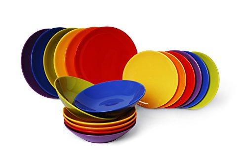 Excelsa Trendy Servizio Piatti 18 Pezzi, Ceramica, Multicolor