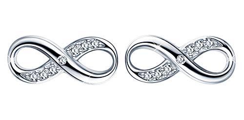 Orecchini alla moda da donna a forma di infinito, in argento Sterling 925, con zirconi, gioielli eleganti, regalo di Natale e compleanno e Argento, colore: Argento, cod. I0010-silver