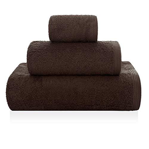 Sorema New Plus Serviette de Toilette en Coton peigné Marron 30 x 50 cm
