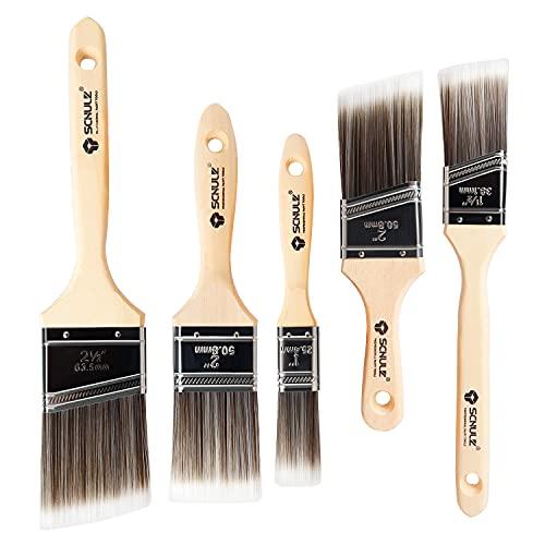5 Stück Lackpinsel für Lacke, Flachpinsel Set 25.4 38 52 52 63.5 Millimeter mit Holzgriff, Malerpinsel Lasurpinsel Set Streichpinsel für lacke Wandmalerei Malerei und Färbung