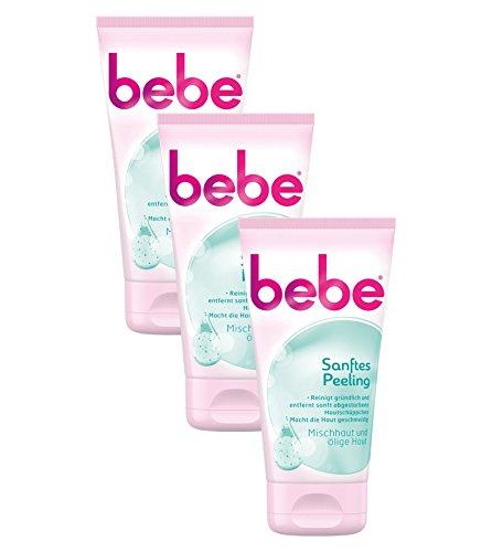 bebe Sanftes Peeling - Reinigendes Gesichtspeeling für Mischhaut & Ölige Haut - 3 x 150ml