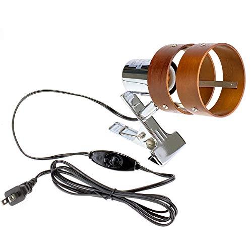 【LED電球付き:50W形相当 白色】クリップライトE26・2環ウッドシェード
