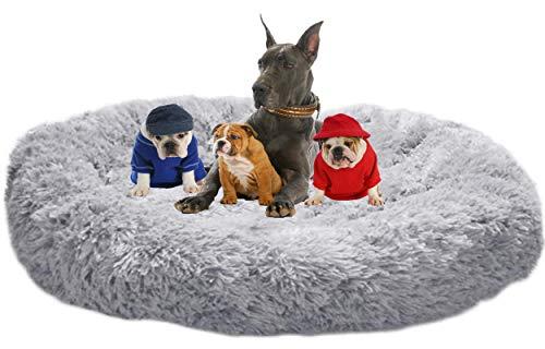 LINRUI Waschbar & Orthopädisches Hundekissen XXL Hundebett Flauschiges für Extra große Grosse Mittlere Hunde Antistress Donut Hundesofa Oval Hoch Hundehöhle XL Rund Kuschelig Memory Foam Grau
