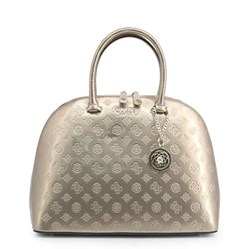 GUESS Peony Shine Large Dome Satchel Champagne