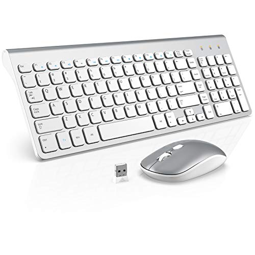 Wireless Keyboard Mouse Combo, WisFox 2.4GHz Slim Full Size Wireless Keyboard and Mouse Set with Number Pad and Nano Receiver for PC Laptop Windows, Quiet and Ergonomic (Silver and White)