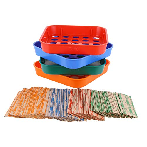 Coin Sorters Tray & Coin Counters – 4 Color-Coded Coin Sorting Tray Bundled with 56 Assorted Flat Coin Roll Wrappers for US Coins