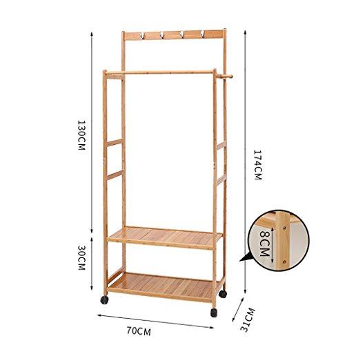 Manteau rack étage chambre séchage supports bambou simple solide bois salon vêtements rack cintres (taille : 70cm)
