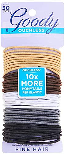 GOODY Women's Hair Ouchless 2 mm Elastics, Neutral, 50 Count