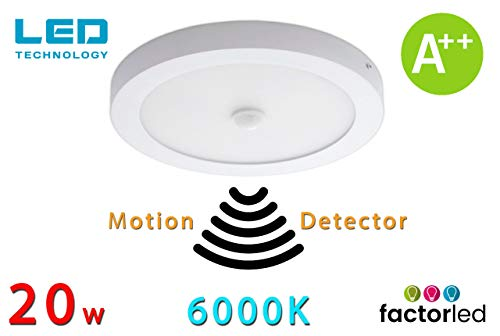 FactorLED Plafón LED de Techo con sensor de movimiento circular 20W, Panel superficie redondo con detector, 22'5 cm diámetro, Lámpara Luz fría 6000K, [Clase de eficiencia energética A++]