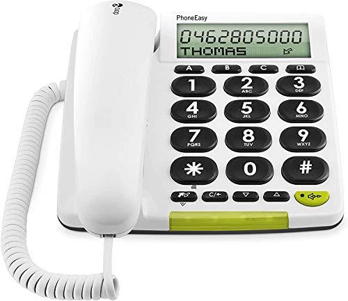 Doro PhoneEasy 312cs Téléphone Filaire à Larges Touches Contrastées, Fonction Mains-libres et Mémoires Directes Idéal pour les Seniors (Blanc) [Version Française]