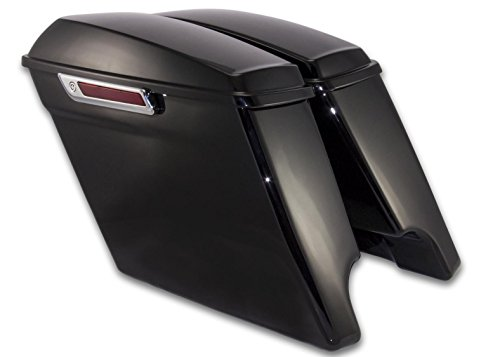 Bagger Brothers ( BB-HD1584-001R )4.5' Extended Vivid Black Harley Davidson ABS Plastic Saddlebags, Completely Assembled, Fit 2014-2018 FLH Touring Models, Dual Exhaust Cutouts