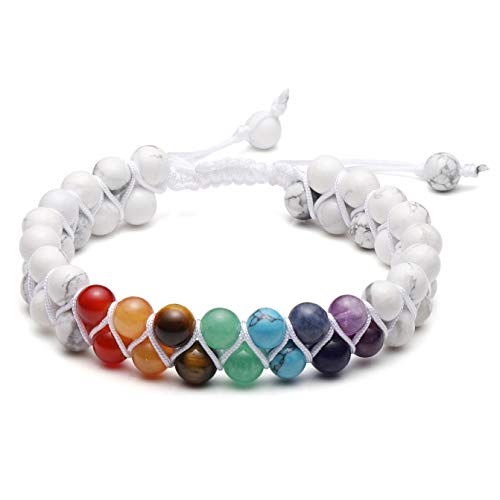Top Plaza 7 Chakra Bracelet Natural White Turquoise Beads Bracelets Aromatherapy Essential Oil Diffuser Bracelet Stress Relief Anxiety Bracelets for Women Men