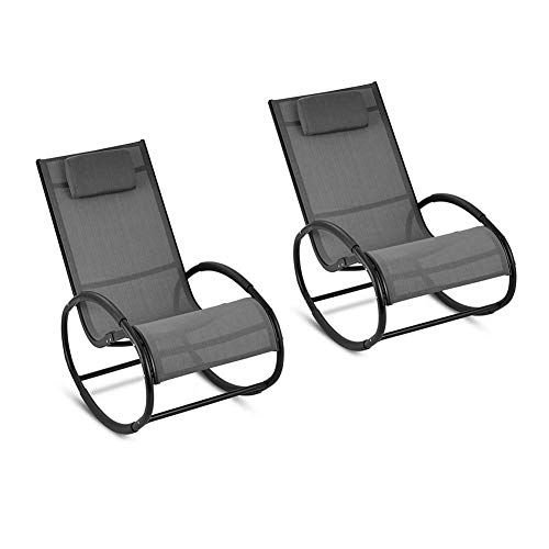 Comfortable Set of 2 Deck Chair Rocking Chair Camping Travel Sun Lounger Chair Lazy Chair Rocker Reclinersadult Elderly Chair Easy Chair Nap Chair Armchair(Black)