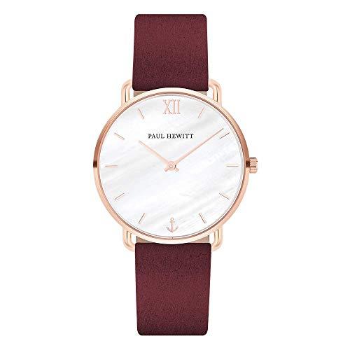PAUL HEWITT Armbanduhr Damen Miss Ocean Pearl - Damen Uhr (Rosegold), Damenuhr mit Stoffarmband (Dark Berry), Ziffernblatt in Perlmutt