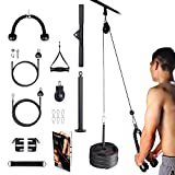BZK Fitness LAT and Lift Pulley System Gym, Pull-Down Machine with Dual Cable Attachments and...