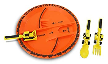 Constructive Eating Construction Combo with Utensil Set and Plate for Toddlers Infants Babies and Kids - Flatware Toys are Made in The USA with Materials Tested for Safety