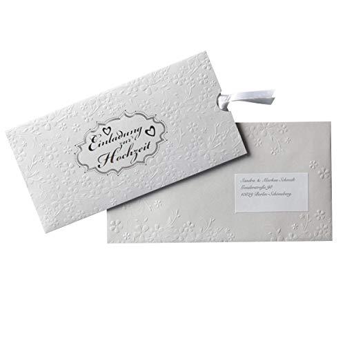 Einladungskarten zur Hochzeit MyPaperSet \'Silverlove\' - Schuber und Einsteckkarte zum Bedrucken. Hochzeitseinladungen inkl. passendem Zubehör (1)