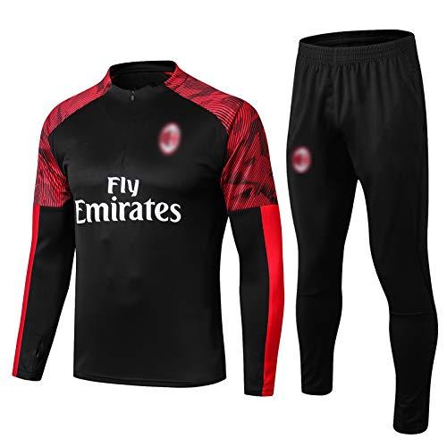 PUS 19-20 AC Milan International City Football Training Anzug, langärmelige Sportbekleidung Trainingsanzug Set, Outdoor Sports Herren Langgezeichnete Sportbekleidung (S- Black-XXL