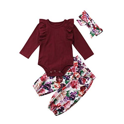 PDYLZWZY Infant Baby Mädchen Kleidung Set Langarm Strampler Overall + Floral Hose + Stirnband 3 Stück Kleinkind Baby Outfits 0-24 Monate (Lila, 70)