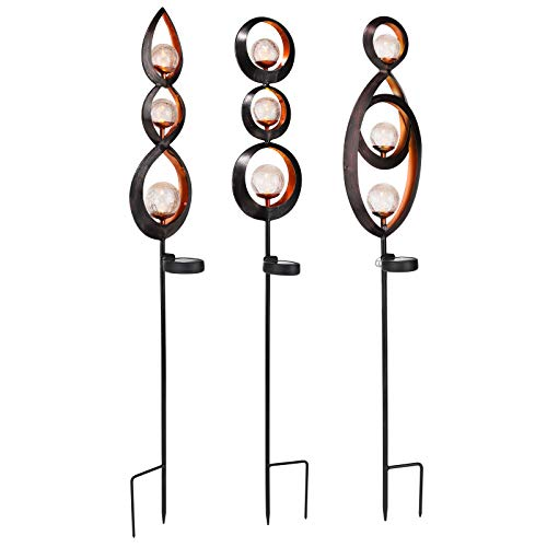 LED Metall Solarlampe für Außen 3 Stück - Solar - Ornamente - Gartenstecker - warm-weißes Licht - austauschbarer Akku - Höhe 92 cm - Solarleuchte Gartenbeleuchtung Gartenlampe Beleuchtung Solarkugel