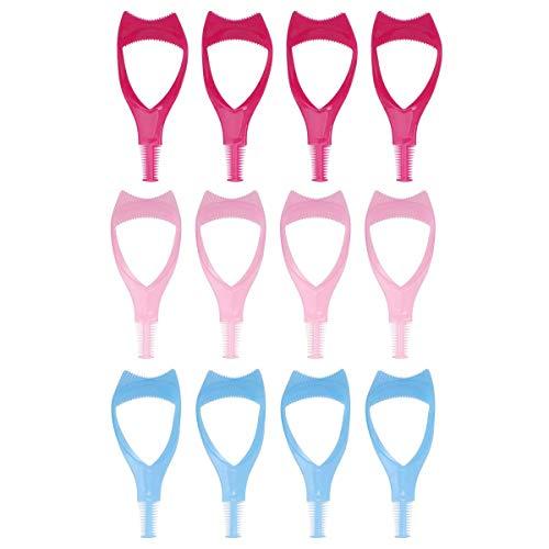 12pcs 3 en 1 mascara applicateur cils brosse curler garde cils en plastique outil mascara applicateur guide outil