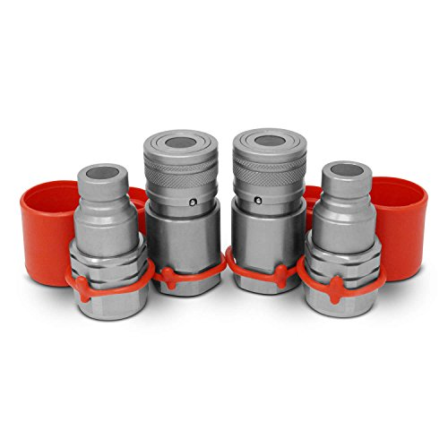 """1/2"""" Skid Steer Flat Face Hydraulic Quick Connect Couplers/Couplings Set w/Dust Caps, 2 Sets"""