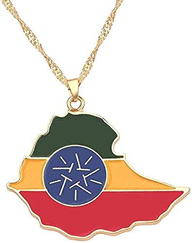 WYDSFWL Collar con Colgante de Mapa y Bandera para Mujer, Color Dorado, Tarjetas de joyería de Moda de Argelia, Accesorios de Regalo étnico, Gargantilla, joyería, Regalo, Regalo
