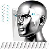 HONYAO Transparente Gesichtsschutz Visier für Frauen und Männer können gereinigt, ausgetauscht und wiederverwendet Werden (6 Brillengestelle +12 Visier)