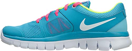 Nike Kids Girl's Flex 2014 Run Shoes, Clearwater/Blue Lagoon/Pink Pow/White, 6.5 Big Kid M