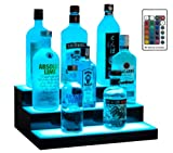 Boss Premium 16 Inch LED Lighted Bar Liquor Bottle Alcohol Whiskey 3-Step Shelf Rack Stand Display Tray Units for Home Bar Living Room Accessories and Decor - Designed in USA