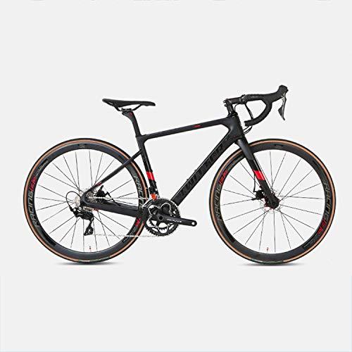 Yinhai Rennrad 700C Carbonrahmen, Shimano 105 / R7000 22-Gang-Umwerfersystem Ultraleichtes Straßenrennen,Black+red 51cm