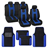 BDK Rome Sport Blue Car Seat Covers Full Set Combo with Floor Mats – Front and Rear Seat Cover & Floor Mat Set, Stylish Protection with Two-Tone Color Accents, Universal Fit for Car Truck Van SUV